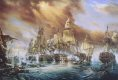 Undoubtedly the most famous battle in the history of naval warfare. The battle of Trafalgar was fought on a calm, almost windless day, on 21st October 1805. Nelsons revolutionary battle plan was to cut apart the larger Franco-Spanish fleet of Vice-Admiral Villeneuve by sailing in two single column divisions directly at right angles into the combined fleet and thus rendering almost half of the leading ships useless until they could turn and join the fight, which in such calm conditions could take hours. The battle raged for five hours, in which time not one single British ship was lost, however, Nelson would tragically lose his life at the very moment of his triumph, a triumph which rendered the British Navy unchallenged in supremacy for over a century.