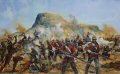 The Battle of Isandlwana on 22 January 1879 was the first major encounter in the Anglo-Zulu War between the British Empire and the Zulu Kingdom. Eleven days after the British commenced their invasion of Zululand in South Africa, a Zulu force of some 10,000-12,000 warriors attacked a portion of the British main column consisting of about 1,800 British, colonial and native troops and perhaps 400 civilians. The Zulus were equipped mainly with the traditional Assegai iron spears and cow-hide shields, but also had a number of muskets and old rifles though they were not formally trained in their use. The British and colonial troops were armed with the state-of-the-art Martini-Henry breech-loading rifle and two 7 pounder artillery pieces as well as a rocket battery. Despite a vast disadvantage in weapons technology, the numerically superior Zulus ultimately overwhelmed the poorly led and badly deployed British, killing over 1,300 troops, including all those out on the forward firing line. The Zulu army suffered around 350 killed, and up to several hundred wounded. The battle was a crushing victory for the Zulus and caused the abandonment of the first British invasion of Zululand.