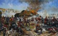 The Battle at Rorke's Drift, also known as the Defence of Rorke's Drift, was an action in the Anglo-Zulu War.  The defence of the mission station of Rorke's Drift, under the command of Lieutenant John Chard of the Royal Engineers, immediately followed the British Army's defeat at the Battle of Isandlwana on 22nd January 1879, and continued into the following day, 23rd January.  150 British and colonial troops successfully defended the garrison against an intense assault by approximately 2000 Zulu warriors.  The intense and noisy Zulu attacks on Rorke's Drift came very close to defeating the tiny garrison, but were ultimately repelled by blasts of Martini-Henry rifle fire-and some smart bayonet work-with  some guts behind the bayonet thrusts!  Eleven Victoria Crosses were awarded to the defenders, along with a number of other decorations and honours.  Of particular note in the painting is the dog 'Pip' - he survived Isandlwhana by retreating along the fugitive's trail to Rorke's Drift.  During the Zulu attacks on Rorke's drift, Pip did his part in the defence - by jumping on the mealie bag parapets and barking at Zulus- who were hiding in the long grass and sneaking up to the defences, then biting any Zulu who came within range.  Unfortunately Pip was not officially recognised for his part in the action.  He was not awarded a VC, on the basis that he was a volunteer canine that accompanied an officer, rather than a War Office issued canine.  Conversely, if Pip had been killed, then he would not have been officially listed as a casualty, as he accompanied the army in a strictly private capacity.  British army horses were in a different category as they were War Office issue, therefore the loss of a horse in action, or to disease, carried a financial liability for the War Office.