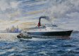 DHM810.  The Queen Elizabeth 2 Leaving New York by Robert Barbour.