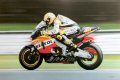Valentino Rossi at speed on his Repsol Honda.