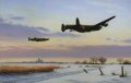 Avro Lancaster of Bomber Command take off on their next bombing misison over occupied Europe during the winter of 1943. ......