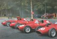 A quartet of Ferrari 801s are warmed up at Rouen-les-Essarts.  French Grand Prix 1957.