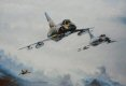In this classic study of 2 v 2 air combat, two Mirage II fighters of the Royal Australian Air Force turn at the merge to engage a pair of evading A4 skyhawks over the Pacific. The painting features the first and last Australian built Mirages in the c......