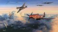 From the day they began their aerial campaign against Nazi Germany to the cessation of hostilities in 1945, the USAAF bomber crews plied their hazardous trade in broad daylight. This tactic may have enabled better sighting of targets, and possibly less danger of mid-air collisions, but the grievous penalty of flying daylight missions over enemy territory was the ever presence of enemy fighters. Though heavily armed, the heavy bombers of the American Eighth Air Force were no match against the fast, highly manoeuvrable Me109s, Fw190s and, late in the war, Me 262 jet fighters which the Luftwaffe sent up to intercept them. Without fighter escort they were sitting ducks, and inevitably paid a heavy price. Among others, one fighter group earned particular respect, gratitude, and praise from bomber crews for their escort tactics. The 356th FG stuck rigidly to the principle of tight bomber escort duty, their presence in tight formation with the bombers often being sufficient to deter enemy attack. Repeatedly passing up the opportunity to increase individual scores, the leadership determined it more important to bring the bombers home than claim another enemy fighter victory. As the air war progressed this philosophy brought about an unbreakable bond between heavy bomber crews and escort fighter pilots, and among those held in the highest esteem were the pilots of the 356th. Top scoring ace Donald J Strait, flying his P-51 D Mustang Jersey Jerk, together with pilots of the 356th Fighter Group, are seen in action against Luftwaffe Fw 190s while escorting B-17 bombers returning from a raid on German installations during the late winter of 1944. One minute all is orderly as the mighty bombers thunder their way homeward, the next minute enemy fighters are upon them and all hell breaks loose. <br><br><b>Published 2003.<br><br>Signed by three of the top pilots from the 356th Fighter group.</b>
