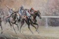 Race horses gallop to the finish shown in this racing painting by Mark Churms.