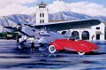 Stan Stokes, in his painting, 1934 American Classics, beautifully portrays a Hollywood movie star and her pet dog embarking on a chartered Ford Trimotor from the Grand Central Air Terminal (owned and operated by Curtis-Wright) in California. Probabl......