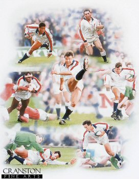 SPC413. 1995 Grand Slam by Scott Bridges. <p> Depicting Englands emphatic 1995 grand slam victory.  <b><p> Signed by <a href=profiles.php?SigID=1964>Jeremy Guscott</a>, <br><a href=profiles.php?SigID=1965>Rob Andrew</a>, <br><a href=profiles.php?SigID=1966>Ben Clarke</a>, <br><a href=profiles.php?SigID=1967>Victor Ubogu</a>, <br><a href=profiles.php?SigID=1968>Rory Underwood</a> <br>and <br><a href=profiles.php?SigID=1969>Tony Underwood</a>. <p> Signed limited edition of 395 prints. <p>  Image size 27.5 inches x 19.5 inches (70cm x 50cm)