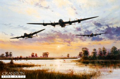 SPT8158.  Dam Busters Setting Off by Simon Atack. <b><p>Open edition. <p> Image size 16 inches x 24 inches (41cm x 61cm)