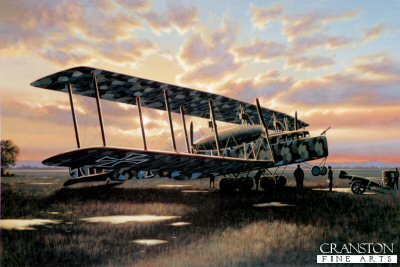 STK0002. Early Night Raiders by Stan Stokes. <p> One of the strategies utilized by the German military in WW I was the terror bombing of civilian targets in hopes of swaying popular opinion to permit favorable peace terms to be exacted. While this strategy was flawed, the principal instrument utilized in its implementation early in the War was the dirigible. While dirigibles had the range to hit targets in Britain, they became increasingly vulnerable to attack as fighter aircraft and ammunitions performance improved. One of the most successful developers and builders of these dirigibles was Count von Zeppelin. Zeppelin was a visionary in airship and aircraft design, and by the time WW I had begun his interest had largely shifted from lighter-than-air airships to more conventional aircraft designs. Zeppelin was well aware that his giant dirigibles had severe limitations in a military role, including their large size, slow speed, small payload capacity, and most important their high flammability. What was needed was a conventional aircraft capable of flying round-trip to strategic military targets that could carry a meaningful payload. Such aircraft would have to be fast enough and have sufficient defensive armament to evade or fend off enemy pursuit aircraft to complete their missions. The most impressive and successful aircraft in this class were built by the Zeppelin-Werke Staaken, a company formed by Zeppelin in Berlin with Robert Bosch as his partner. The company&#39;s first goal was to develop a long-range, six-engine, bomber/transport. By late 1915 German military authorities recognized the need for such aircraft and laid down specifications for their design. Included in the specs were the unique requirements for oxygen apparatus, in-flight servicing of the engines, and for both onboard navigational and communications apparatus. Called R-planes by the military, Zeppelin produced a series of three giants, commonly all referred to as Zeppelin-Staakens. Only one o