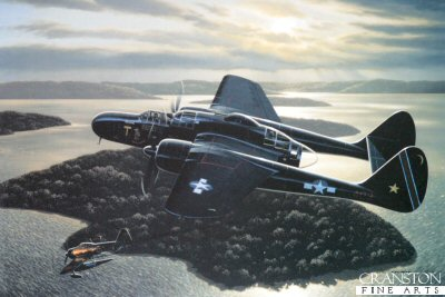 STK0032B. Bite of the Black Widow  by Stan Stokes. <p> The Northrop P-61 Black Widow was the USAAFs first modern fighter aircraft which was specifically designed from the start to serve in the night fighter capacity. Designed by Jack Knudson Northrop, this aircraft was quite innovative. The Armys initial requirements for this night interceptor made no mention of radar, but stated that the aircraft would carry a device which would locate enemy aircraft in the dark. The P-61 indeed utilized radar, and about seven hundred of these large twin-engine aircraft were built. The recommendation to pursue development of an aircraft of this type came about from the recommendations of a special commission which visited Great Britain during the Battle of Britain. The commission identified the need for an effective night fighter capability to deter enemy night bombing raids. Although the first prototype flew in May of 1942, the Black Widow did not enter front-line service until 1944. The P-61 was the largest and most powerful fighter aircraft of WW II. The Black Widows bite was mean because of its four cannons and four machine guns. With a wingspan of sixty-six feet and a length of nearly fifty feet, this large aircraft was powered by twin 18-cylinder Double Wasp radial engines, capable of 2,000-HP each. The B model of the P-61 was capable of speeds in the 365-MPH range, and had an incredible range of 3,000 miles. This great range gave the P-61 added benefits in the Pacific theater of operations. The P-61 utilized 4-bladed, variable pitch props, and incorporated a tricycle landing gear configuration. With its distinctive double tail configuration, the Black Widow had a roughly similar appearance to the P-38 Lightning, which was sometimes utilized in the night fighter role prior to the P-61 becoming available. The XP-61 prototype took to the air in May of 1942, and the aircraft exhibited a maximum speed of 380 MPH. Despite good results from the initial flights, the P-61 took a long