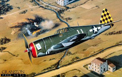 STK0037. Herky&#39;s Big Day by Stan Stokes. <p> The Republic P-47 Thunderbolt, or Jug7 as it was more popularly called, was the mount of many of the American aces of WW 11. The P-47 represented the crowning achievement from two aircraft designers, Alexander Kartvelli and Alexander De Seversky, both immigrants from Russia. It came on the heels of two other aircraft, the P-35 and P-43, which were satisfactory pre-war designs, but not up to the new standards required to compete against Bf-109 fighters in Europe or Mitsbushi Zeroes in the Pacific. The P-47 was the largest and heaviest single seat American fighter of the War. Powered by a huge 2000-HP radial engine, more than 15,000 Jugs were produced. The first production variant was the P-47B which had a razorback fuselage. During tests the aircraft attained a speed of 429-MPH with a maximum range at 10,000 feet of 835 miles. Later variants included a C and D model with the razorback fuselage. Belly tanks and wing tanks became standard equipment as the range of this fighter was stretched for bomber escort missions in Europe. In mid- 1943 one of the biggest pilot complaints about the aircraft was remedied when a bubble top canopy and redesigned fuselage was incorporated into the D model. This dramatically improved rearward vision of the pilots. These aircraft were armed with 8 machine guns, and could carry up to 2500 pounds of additional fuel or ordinance. Herschel Herky Green was one of the top USAAF aces in Europe with a total of 18 confirmed aerial victories (3 in P-40s, 10 in P-47s, and 5 in P-5 Is.) Green was born in 1920 in Mayfield, Kentucky. While studying mechanical engineering at Vanderbilt University he learned to fly in the Civilian Pilot Training Program. He joined the Army as an aviation cadet in 1941 and earned his wings an a commission at Foster Field in 1942. One of Greens first assignments was flying P40s in North Africa. He scored a total of three victories in P-40s before his squadron transitioned t