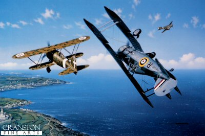 With Italys entry into WW II on June 10, 1940, the epic two-and-one-half-year siege of Malta began. Symbolizing the defiant resistance of the people and defenders of that tiny island, the legend of Faith, Hope, and Charity grew from a handful of Gloster Sea Gladiators which initially comprised Maltas sole aerial defense. Until the arrival of the more modern Hawker Hurricanes, these obsolescent biplanes fought the Regia Aeronautica alone in the skies above Malta. Only six or seven Gladiators were assembled from the shipment of eighteen crated aircraft which had been delivered by the HMS Glorious. Others were utilized for spare parts, and three had been dispatched, still crated, to Egypt. Though hugely outnumbered, the defenders fought on, raising the morale of the citizens of Malta, and denying the Italians mastery of the sky. Suffering from a constant shortage of spare parts, tools and equipment, the devoted ground support crews were never able to keep more than three Gladiators operational at any point in time. Only one of these Gladiators was totally lost in aerial combat, and the sole surviving aircraft was presented to the people of Malta, and today stands in their National War Museum as a proud symbol of courage and endurance. In Stan Stokes painting, a Sea Gladiator, piloted by Flight Lt. James Pickering, tangles with a Fiat C.R. 42 over Malta in 1940 while an Italian Savoia S.79 tri-engined bomber passes by in the background.  The Gloster Gladiator represented the zenith of development of the classic biplane fighter aircraft, a design formula which characterized an entire era from WW I until the advent of the monoplane fighter just before WW II. Glosters naval model of the Gladiator was equipped with a Bristol Mercury VIIIA engine providing a maximum speed of 253 MPH, a rate of climb of 2300 feet per minute, an operational ceiling of 32,200 feet, and a range of 415 miles. The Gladiator was armed with four .303 inch Browning machine guns, and incorporated several advanced features including an enclosed cockpit and wing flaps. One top RAF ace, Sqd. Ldr. Pattle, attained eleven victories flying the Gladiator. A total of 527 Gladiators were produced, and the aircraft served in twelve different countries. The Italians were overly persistent in their emphasis on biplane fighters, stemming from their successes with these highly maneuverable machines during the Spanish Civil War. Employing distinctive Warren-truss type interplane bracing the C.R. 42 was powered by a Fiat A74 R.C. 38 engine providing a maximum speed of 274 MPH and a range of 485 miles. The C.R. 42 was more lightly armed than the Gladiators it opposed, possessing only two 12.7mm Breda machine guns. The C.R 42 served on all of Italys fronts including North and East Africa, France, Britain, the Balkans, and Russia. Exported to Hungary, Sweden and Belgium, the C.R. 42  ironically served alongside the Gladiator in other theaters of operation during WW II.  <br><br><i>This print has some light handling damage to outer edge of border.  If we sold framed prints, we would frame these up and sell them as new, the damage is so light.  Instead we have reduced the price online to reflect the minor damage. <br><a href=https://www.military-art.com/mall/border-damage.php>Please click here for a list of all our stock in this category</a>.</b><br><br>