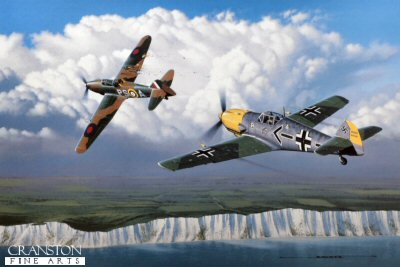 STK0121. Defiant but Doomed by Stan Stokes. <p> Jagdeschwader 26, or JG 26, was one of the Lufwaffes elite fighter forces. Nicknamed the Abbeville Boys, or the Abbeville Kids,JG 26 gained tremendous notoriety early in the War while operating out of Abbeville in Northern France. Although JG 26 never operated with more than 124 fighter aircraft, the unit dominated its airspace over Northern France and Belgium for more than a two year period. Adolf Galland was one of Germanys top fighter aces of the War, with more than 100 confirmed victories. For most of his flying career Galland was associated with JG 26. By year-end 1940 he had attained 57 victories, and was awarded the Oak Leaves, the highest award of the time. Galland took over command of JG 26 in August 1940 during the Battle of Britain. In Stan Stokes painting, entitled Defiant, But Doomed, Galland is depicted during a mission with the Abbeville Kids on August 28, 1940. Flying low cover for a formation of Heinkel bombers Galland was shocked to see a squadron of 12 Royal Air Force Defiants flying directly below the bombers. The Defiant was a unique British aircraft which was utilized as a daylight fighter incorporating four machine guns enclosed in a top mounted hydraulic turret operated by a gunnery officer. Despite serving admirably during the Dunkirk evacuation, the Luftwaffe had devised tactics which made the Defiant only marginally successful. By utilizing its turret guns RAF 264 Squadron was preparing to decimate the Heinkels with an attack on their vulnerable underbellies. Climbing straight up into the formation Galland broke up the attack. Minutes later he was engaged with the Defiant piloted by 264 Squadron Commander Garvin. Although struck four times by the Defiants machine guns, Galland was ultimately victorious. Gallands JG 26 flew the Messerschmitt Bf-109 (also often referred to as the ME-109) of which over 30,000 were produced. The first large scale production model of the 109 was the E series. Powered by a 12 cylinder water cooled engine the 109e was capable of 360 MPH, and had a ceiling of 33,000 feet. The 109 was very maneuverable and had a very strong airframe capable of sustaining high G maneuvers. Utilizing a low-wing cantilever design, the 109 had retractable landing gear and initially was produced with fuselage mounted machine guns. Galland complained about this configuration and actually modified several of his aircraft to incorporate wing mounted machine guns, which would provide a wider field of fire. A few of these aircraft were utilized during the Spanish Civil War in 1939, and proved vastly superior to anything they faced. The 109, unlike many other fighters which were in service at the start of the War, remained effective for the entire War, and in fact became a de facto standard by which many other aircraft would be judged. Adolf Galland was promoted to General of the Fighter Arm in late 1941, and became preoccupied with fighter tactics for the duration of the War.  <p><b> Supplied with signed and numbered certificate of authenticity.</b><b><p> Signed limited edition of 4750 prints.  <p> Print size 16 inches x 11.5 inches (41cm x 30cm)