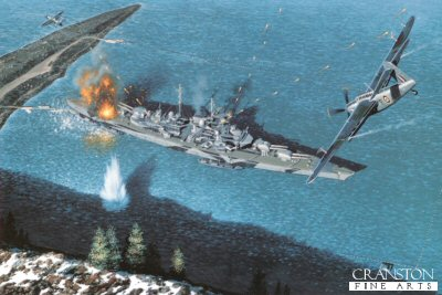 STK0127. Attack on the Tirpitz by Stan Stokes. <p> On November 2, 1936 the keel was laid for a new German 35,000 ton-class battleship. On April 1, 1939 the new ship was christened the Tirpitz, and by February of 1941 the giant ship had entered service. The hull of the Tirpitz was 90% welded, and the battleship was very heavily armored, rendering it almost unsinkable in the minds of German naval strategists. In service the Tirpitz actually displaced closer to 53,000 tons. With a crew slightly in excess of 2,000 the ship was capable of making 29 knots. With a range of more than 9,000 miles at a speed of 16 knots, the Tirpitz was certain to take a heavy toll on Allied shipping in the North Atlantic. The Royal Navy and RAF determined that the Tirpitz must never be allowed to become an effective convoy buster, and a multi-year campaign of harassment of the huge German warship was undertaken. In July of 1940, while the ship was still being outfitted, an air attack was launched with little significant damage. After completing its sea trials the Tirpitz was based at the Faettenfjord in Norway. The Tirpitz unsuccessfully attacked two convoys in March of 1942, and itself was attacked by a flight of 12 Albacore torpedo bombers. Three more bombing attacks by Halifax and Lancaster bombers took place in March and April with only marginal success. In July the Tirpitz was moved to Altafjord, and in that month it again attacked a convoy with no success. In October the great ship was sent back to Faeteenfjord for servicing. In 1943 several midget submarine attacks were launched at the battleship, but again with no meaningful impact. No air attacks took place in 1943. In early 1944 the Tirpitz was the target for Soviet bombers, but once again the ship pulled through unscathed. In April of 1944 the Brits once again joined the attack and the Royal Navy sent a large group of 40 Barracudas with about 40 escort fighters to attack the battleship at Kaalfjord. This attack resulted in fifteen hits, generated 400 casualties, and did some serious damage to the upper deck. Follow-up air attacks were called off by bad weather, and it was not until August that three more raids took place. None of these had much impact. In September the Brits changed strategies and commenced attacks on the Tirpitz using 11,000-pound Tallboy bombs. A flight of 32 Lancasters delivered 29 Tallboys to the target in November of 1944. Two direct hits and one near miss were recorded. The great battleships armored deck was pierced by the huge bombs, its magazine exploded, and the ship capsized and sunk with more than 1200 killed. In Stan Stokes painting the attack of April 3, 1944 that was code-named Operation Tungsten is depicted. The Fairey Barracuda despite an ungainly appearance was produced in large numbers (2,500) for use as Royal Navy dive and torpedo bombers. With a crew of 3 and a top speed of only 238-MPH the Barracuda required fighter support during most of its missions to prevent it from becoming an easy target for Axis fighters.  <p><b> Supplied with signed and numbered certificate of authenticity.</b><b><p> Signed limited edition of 4750 prints.  <p> Print size 16 inches x 11.5 inches (41cm x 30cm)