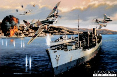 STK0134. Dangerous Duty by Stan Stokes. <p> Some of those most dangerous missions of WW II were the low level shipping attacks by Bristol Blenheims carried out against Axis shipping. These missions were important in the early stages of the War in the Mediterranean in terms of disrupting supply lines to Rommels troops fighting in North Africa. It was not uncommon for the RAF to lose 10-30% of the aircraft it sent on such missions.  One of the most successful of the RAFs Blenheim pilots was Sir Ivor Broom, who rose from the rank of Sergeant Pilot, completing three combat tours, including thirty-one low level attacks while based on the island of Malta. With all the officer pilots in his squadron either killed or missing in action, Broom received his commission. Allied interdiction efforts had become so successful that in October and November of 1941 only 25% of the supplies destined to supply Rommels armies in North Africa were getting through. The Germans decided to reroute their supply ships, opting for taking a longer route, but one which made Allied attacks much less likely. The Blenheimss of Brooms 107 Squadron had sufficient range to reach shipping targets off the Greek coast, but this necessitated a long over water flight and precise navigation. Brooms 43rd combat mission involved the attack on German ships at anchor in the harbor at Argostoli which was on the island of Cephalonia off the west coast of Greece. The ships there were forming a convoy which would make the dash to Benghazi. Six Blenheims from 107 and 18 Squadrons took part in the raid. With Broom in the lead the six attackers avoided the heavily armed coastal defenses by approaching the harbor from an inland direction. This required some highly skilled low level flying as they followed a road through a saddle in the hills. With the advantage of surprise on their side the six attackers swept down on the ships at anchor in the harbor at mast height. After releasing their bomb load the group executed a sharp turn to starboard and a fast climb up and over the hills to the west of the harbor. A-A fire greeted the Blenheims as they made their escape, and two of the six aircraft fell victim. This attack on December 13, 1941 is depicted in Stan Stokes painting appropriately entitled Dangerous Duty. The Bristol Blenheim, the most plentiful aircraft in the RAFs inventory when WW II began, was designed by Frank Barnwell, and when first flown in 1936 was unique with its all metal monoplane design incorporating a retractable undercarriage, wing flaps, metal props, and supercharged engines. A typical bomb load for a Blenheim was 1,000 pounds. In the early stages of the war Blenheims were used on many daylight bombing missions. While great heroism was displayed by the air crews, tremendous losses were sustained during these missions. The Blenhiem was easy pickings at altitude for German Bf-109 fighters who quickly learned to attack from below. To protect the vulnerable bellies of the Blenheims many missions were shifted to low altitude, but this increased the aircrafts exposure to anti-aircraft fire.  <p><b> Supplied with signed and numbered certificate of authenticity.</b><b><p> Signed limited edition of 4750 prints.  <p> Print size 16 inches x 11.5 inches (41cm x 30cm)