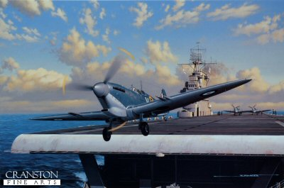 STK0135C. Stung by the Wasp by Stan Stokes. <p> The Axis attack on the British controlled island of Malta commenced in 1940 only one day after Mussolini committed Italy&#39;s forces on the side of the Germans during WW II. This strategically located island was a thorn in the side of Axis plans to dominate the Mediterranean and win control of North Africa. Malta would be attacked thousands of times by waves of both Italian and German bombers during the course of the War. On a per acre basis it may be one of the most bombed targets of WW II. In the early phases of the defense of the island a handful of Gloster Gladiators which were supplemented eventually by RAF Hurricanes carried on the brunt of the islands defense. Spitfires were sorely needed. The first Fifteen Spitfires arrived in Malta on March 7, 1942, and a second group of Spits arrived on March 29. In both cases they were launched from the HMS Eagle, and had to fly more than 600 miles over the Mediterranean to reach the island. In April of 1942, Churchill asked Roosevelt for assistance in supplying Spitfires to Malta. The besieged island was now in range of approximately 400 German fighters and bombers and about 200 Italian aircraft, and intelligence information pointed to the possibility of an invasion by airborne paratrooper forces out of Sicily. Due to combat losses, and the difficulty in getting spare parts, the islands defenders could generally muster only 20-30 defensive fighters on any particular day. This was woefully inadequate. With the Eagle was now laid up for repairs, and the Argus and Victorious not capable of handling the Spitfires. Churchill specifically requested American intervention, and asked FDR if the USS Wasp could shuttle fifty Spitfires to Malta. FDR agreed to the mission, and plans were immediately implemented. It was determined that two entire Spitfire squadrons No. 601 and 603 would make the journey. These units had a number of American pilots. On April 12 the Wasp docked on the Clyde of Glasgow and began taking on the Spitfires for her journey. With most of its regular aircraft removed, only nineteen F4F Wildcats were retained for fighter cover. On the 14th the Wasp set sale with a number of escorts. All the aircraft were Mk. Vc models equipped with four canon and four machine guns. Each had a Vokes air filter fitted beneath its nose and was equipped with a 90-gallon auxiliary fuel tank. The Spits were over-sprayed with a dark blue paint in hopes of making them less noticeable to the enemy during the 660 mile over water flight to Malta. Following breakfast on Monday April 20, 1942, the RAF pilots manned the 47 aircraft deemed suitable for the flight and the launch commenced. One immediate casualty was an RAF mechanic who walked into a turning prop and was immediately killed. One American pilot flew his Spitfire to Algeria, but the remaining 46 aircraft successfully landed in Malta. Within hours of their arrival the airfields were once again under attack by Axis bombers, and the newly arrived pilots were immediately pressed into service defending the island. The ability of the British to retain control of Malta as a base for torpedo planes and bombers which could harrass Rommels supply lines to North Africa, was critical in attaining eventual Allied victory in North Africa, the successful invasion of Italy, and ultimately, complete Allied victory in Europe. <b><p>Signed by RAF Eagle Sqn Ace Reade F Tilley (deceased). <p>Prints from the 225 prints from the signed limited edition of 4750 prints, with signature of Stan Stokes and pilot. <p> Image size 16 inches x 11.5 inches (41cm x 30cm)