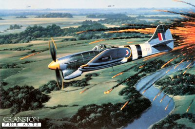 STK0136B. The Exterminator by Stan Stokes. <p> By mid-1941 it was clear that Hitlers plans to invade Britain were in disarray. The RAF had fought the Luftwaffe to a standoff, and many of Germanys top pilots had been killed or captured. Not willing to admit defeat in his campaign against Britain, Hitler approved the development of a pilotless terror weapon, the VF-1 Vergeltungswaffe (retaliation weapon). Designed by the Feiseler Company, the small pilotless Fi-103 was at times referred to in Britain as the doodlebug, buzz bomb, or farting fury. These flying bombs were inexpensive to build and were capable of carrying an 1870-pound warhead. The Fi-103  was powered by a ram-jet engine, and utilized three air driven gyroscopes to orient the aircraft. A rudimentary pre-set propeller device was utilized to determine when the VF-1 would land. Lacking the accuracy necessary to make it an effective weapon against military targets these doodlebugs were primarily targeted at large population centers. Therefore, they were primarily used as civilian terror weapons, and the RAF was given the assignment of providing the defense against these terror weapons. Early testing revealed many problems with the VF-1, and it was not until March 1944 that most of these problems had been worked out. The final VF-1 production models were capable of speeds in excess of 400 MPH . The high speed of the VF-1, coupled with its small size and large warhead, made it difficult for the RAF to shoot down these doodlebugs. The doodlebug had strong sheet steel skin which deflected machine gunfire, making it necessary to utilize cannon fire. Cannons had more than twice the range of machine guns, but the attacking fighters had to get in close to hit these small, fast targets. If the pilot got in too close the explosion of the VF-1s heavy warhead often disabled the attacking fighter. An alternative was to deflect the doodlebug by maneuvering alongside it, and then by executing a gentle banking maneuver, flip the VF-1, and disrupt its gyros. Generally, this caused the doodlebug to crash in an unpopulated area with little damage. Less than 10% of the buzz bombs were destroyed in this manner, and this technique was only utilized when the pilot had depleted his ammunition. One of the top buzz-bomb exterminators was Wing Commander Roland Beamont who destroyed 32 doodlebugs during his tour of duty. He flew the Tempest V with 150 Wing, which he commanded. The three squadrons of 150 Wing were credited with destroying 630 buzz bombs between June and August of 1944. The Hawker Tempest was the fastest interceptor available, and provided its pilots a highly stable platform for its four 20mm cannon. The Meteor, the RAFs first jet, was utilized briefly as a buzz bomb interceptor, but with only nine kills, it was withdrawn as being unsuitable for this purpose. As depicted in Stan Stokes painting appropriately entitled The Exterminator, Wing Commander Beamont is depicted flying his Tempest V through the debris created by a successful hit on a buzz bomb in July, 1944. The action takes place southeast of London over the tranquil English countryside. <b><p>Signed by RAF Wing Commander, Roland Beamont (deceased). <p> 225 prints from the signed limited edition of 4750 prints, with signature of Stan Stokes and pilot, and a remarque.<p>Image size 16 inches x 11.5 inches (41cm x 30cm)
