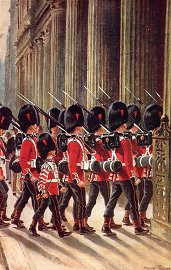 Coldstream Guards Entering the Bank of England for Guard Duty by Harry Payne