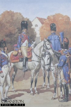 UN113.  Garde Imperiale Grenadiers a Cheval - Trompettes by L Rousselot. <p>Copyright Anne S K Brown Collection, who gave permission for 1000 copies to be produced.<b><p> Open edition print. <p> Image size 8 inches x 12 inches (20cm x 31cm)
