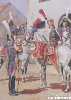 UN124.  Garde Imperiale Grenadiers a Cheval - Trompettes et Timbalier by L Rousselot. <p>Copyright Anne S K Brown Collection, who gave permission for 1000 copies to be produced.<b><p> Open edition print. <p> Image size 8 inches x 12 inches (20cm x 31cm)