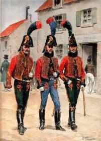 Grande Imperiale - Chasseur a Cheval 1805-1815 - Sous-officier, Trompette et Chasseur en Tenue de Ville du Dimanche by L Rousselot
