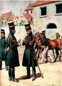 Grande Imperiale - Chasseur a Cheval 1804-1815- Officier et sous - Officier en Redingote, Chasseur en Tenue dEcurie by L Rousselot
