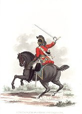UN365.  Private, 3rd or Kings Own Dragoons by J C Stadler after Charles Hamilton Smith. <p>Modern reprint of the coloured lithograph vignettes by J C Stadler after Charles Hamilton Smith from Charles Hamilton Smiths Costumes of the Army of the British Empire, according to the last regulations 1812, published by Colnaghi & Co. 1812-1815, showing the British uniform of 1812 during the Napoleonic war.  Only 800 have been reprinted in 2002. <b><p> Open edition print. <p> Image size 9 inches x 11 inches (23cm x 28cm)