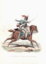 UN376.  Private, 7th or Queens Own Light Dragoons (Hussars) by J C Stadler after Charles Hamilton Smith. <p>Modern reprint of the coloured lithograph vignettes by J C Stadler after Charles Hamilton Smith from Charles Hamilton Smiths Costumes of the Army of the British Empire, according to the last regulations 1812, published by Colnaghi & Co. 1812-1815, showing the British uniform of 1812 during the Napoleonic war.  Only 800 have been reprinted in 2002.  <b><p>Open edition print. <p> Image size 9 inches x 11 inches (23cm x 28cm)