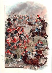 Square of the 42nd Charged by French Cuirassiers at Quatrebras by Harry Payne.