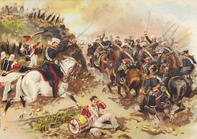 The Sihk War - The Charge of the 3rd (Kings Own) Light Dragoons at the Battle of Sobraon 1846 by Harry Payne.