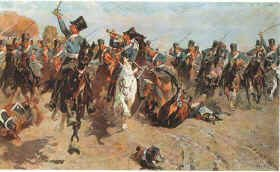 Charge of the Prussian Dragoons at Wachau by Carl Becker.