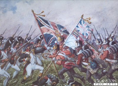 VAR158. Saving the Kings Colour of the 32nd During the Battle of Waterloo by Richard Simkin. <p> A French Officer attempts to seize the Colour but was instantly run through by Sgt. Switzers Pike and also by the sword of Ensign Birtwhistle. <b><p> Open edition print. <p> Image size 12 inches x 8 inches (31cm x 20cm)