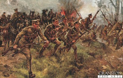 VAR0161. Charge of the First Life Guards at the battle of Klein Zillebeke November 6th 1914 by Harry Payne. <p> Lower price due to lower quality of print compared to our usual high standard. <b><p>Open edition print. <p> Image size 12 inches x 8 inches (31cm x 20cm)