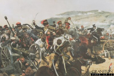 VAR301.  Relief of the Light Brigade by Caton Woodville. <p>Depicting the Light Brigade at the moment of reaching the Russian guns. Shown are the 11th Hussars and the 17th Lancers.  The all time classic image of the disastrous  Charge of the Light Brigade which included the 17th lancers, who lead the charge.  Lord Cardigan is shown on the left, dressed in his 11th Hussars uniform.   The Light Brigade were being kept in reserve, after the successful charge of the heavy brigade, but the slow advance of the British Infantry to take advantage of the heavy brigades success had given the Russian forces time to take away Artillery pieces from captured redoubts.  Raglan, after seeing this ordered the light brigade to advance rapidly to the front, follow the enemy and try to prevent the enemy carrying away the guns. This message taken by Captain Nolan, to Lord Lucan, the cavalry Commander.  One of the Officers of Raglans Staff, urged Lucan, who could only see the main Russian Artillery position at the head of a valley.  Lord Lucan rode over to Cardigan and ordered him to attack these guns.  So the Light Brigade charged these Russian guns, and not the guns being taken away by Russian forces from the redoubts. The carnage was great, from the 673 men who started the charge, 113 men were killed and many others wounded. The Light Brigade was made up of the 4th and 13th Light Dragoons, 8th and 11th Hussars and the 17th Lancers. A spectating French Officer General Pierre Bosquet proclaimed - It is magnificent but it is not war.<b><p> Open edition print. <p> Image size 21 inches x 14 inches (53cm x 36cm)