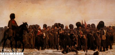 VAR310.  The Roll Call by Lady Elizabeth Butler. <p>Grenadier Guards exhausted, standing in the snow after the battle, during the Crimean war awaiting the reading of the Roll Call.  Published by Pompador Gallery in 1987, this print sold out at the publisher over eighteen years ago.  Although their condition is not perfect, they are good to the eye.  They are very rare items - we have only 20 prints remaining. <b><p>Open edition print. <p> Image size 30 inches x 15 inches (76cm x 38cm)