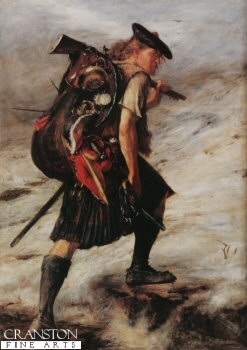 VAR321.  Disbanded by John Pettie. <p>A Highlander after the Jacobite uprising of 1745-1746, after the Battle of Culloden. <b><p> Open edition print. <p> Image size 10 inches x 15 inches (25cm x 38cm)