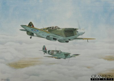 VAR325.  Duxford and Shuttleworth by John Wincentzen. <b><p>Open edition print. <p>Image size 22 inches x 16 inches (56cm x 41cm)