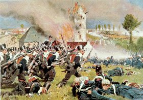 Prussian Troops Storming the French Occupied Cemetry at Plancenoit (Battle of Waterloo) by Carl Rochling.