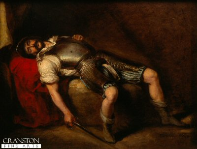 Robert the Bruce, the victor of Bannockburn is shown asleep with sword in hand in one of the smaller historical paintings by Sir William Allen.