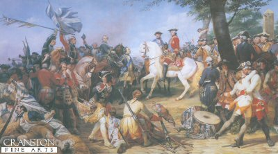 VAR375. Battle of Fontenoy by Horace Vernet. <p>Battle of Fontenoy during the war of Austrian Succession. French victory under Marshal Maurice De Saxe over the allies (British, Dutch and German under the Duke of Cumberland) 11th May 1745.  Fontenoy, 5 miles south east of Tournai (Tolnay) the battle which started with a Dutch assault and British and Hanovarian infantry advance against the French centre during the battle a sudden attack by an Irish Brigade under French command, attacked the allied forces. The allied square was broken but the British, Hanovarian and Dutch forces retreated in good order.<b><p> Open edition print. <p> Image size 12 inches x 7 inches (31cm x 18cm)