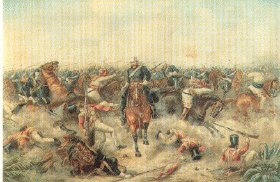 Charge of the Picket of the 9th Lancers, October 10th 1857 by unknown artist probably Henry Martens.