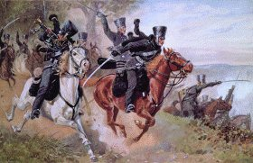 Charge of the Death Head Hussars by Richard Knotel.
