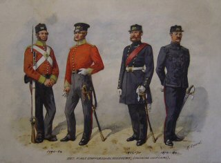 38th 1st Staffordshire Regiment (Undress Uniforms) 1846 - 1856, 1856 1870, 1870 - 1880. (P)