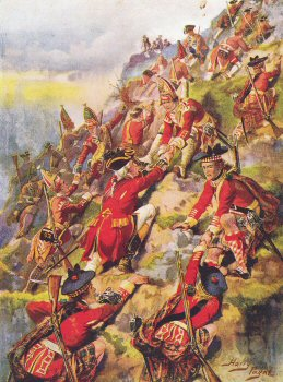 VAR606.  Scaling the Heights of Abraham, Battle of Quebec by Harry Payne. <b><p>Open edition print. <p> Image size 12 inches x 8 inches (31cm x 20cm)