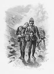 VAR627.  Stragglers of the 66th (Berkshires) Coming In by Harry Payne. <b><p>Open edition print. <p> Image size 12 inches x 8 inches (31cm x 20cm)