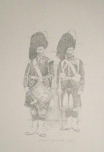 VAR633P. Drummer and Infantryman, Cameron Highlanders c.1890 by Chris Collingwood.