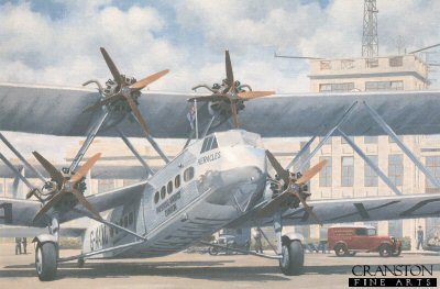 Handley Page H.P. 42 G-AAXC Heracles of Imperial Airways at Croydon by Keith Woodcock.