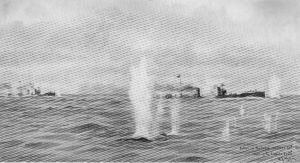 Action of the Texel, October 28th 1914: Shelling the Torpedo Boats by W L Wyllie.