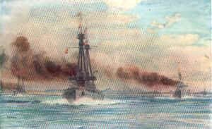 Invincible and Inflexible Steaming Out of Port Stanley by W L Wyllie.